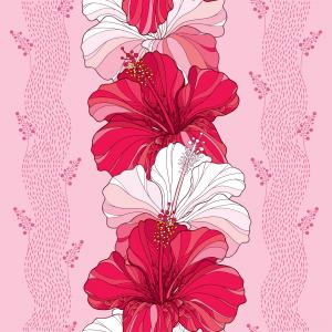 Floral pattern with Chinese Hibiscus in red and in white on the pink background with stripes.
