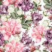 Beautiful Watercolor pattern with peony flowers and tulips .