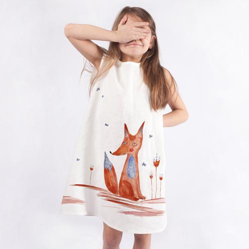 Girls dress with animated fox
