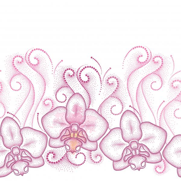 Seamless pattern with pink dotted moth Orchid or Phalaenopsis and swirls on the white background.