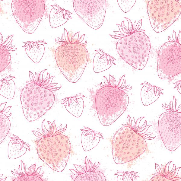 Pattern with  Strawberry and blots in pink pastel color on the white background.