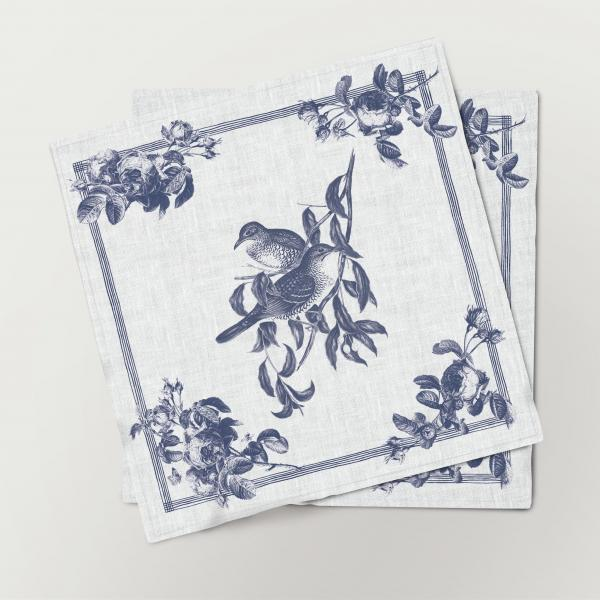 Napkins set /  Toile de Jouy Birds / Mountain Thrus
