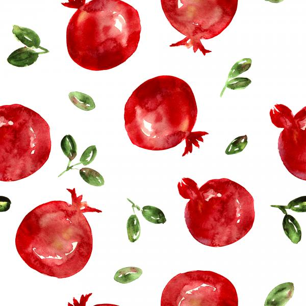 Pomegranates, watercolor