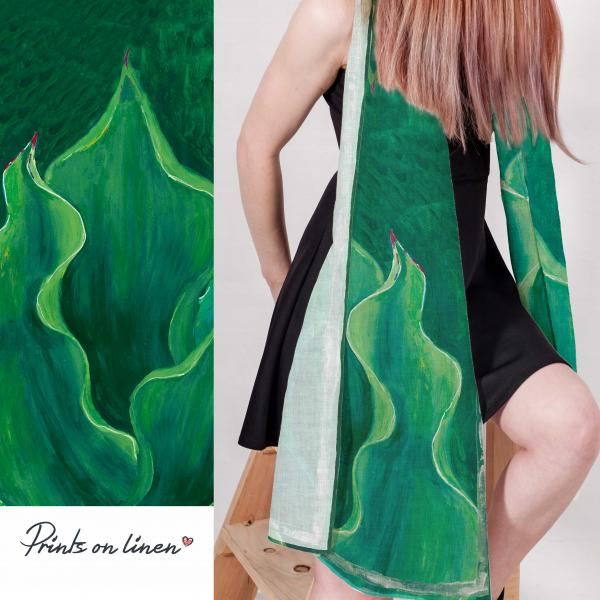 Linen scarf / Green Fashion