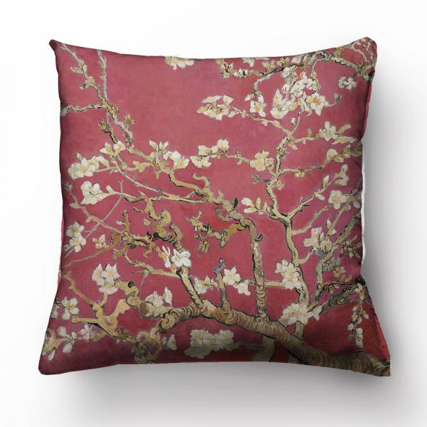 """Cushion cover """"Almond blossom"""" / Wine red"""