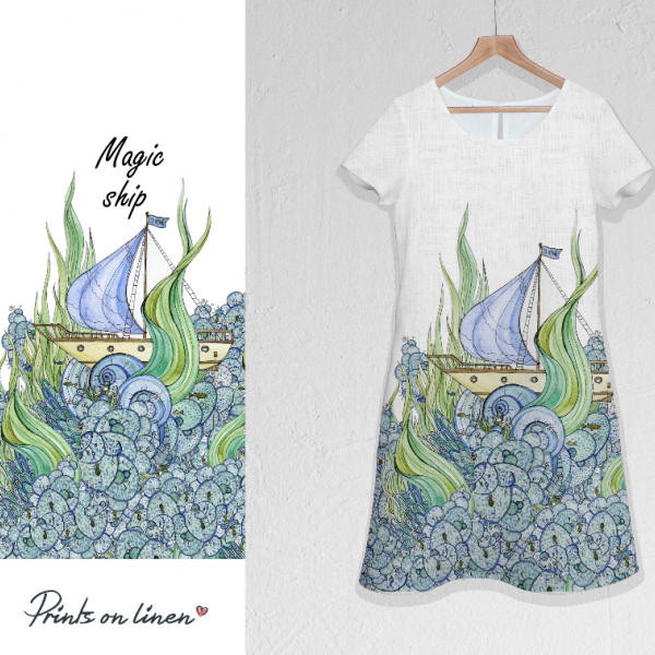 Linen dress / Magic ships