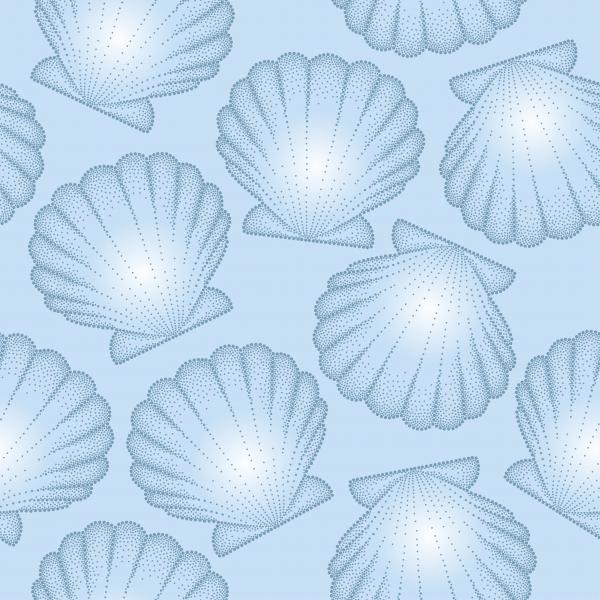 Vector seamless pattern with dotted Sea shell or Scallop on the blue background. Marine theme.