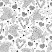 Design elements and holiday symbols in contour style for Valentine day and coloring book. Romantic background with cute fishes in love.