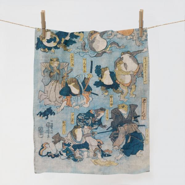 Kitchen towel / Famous Heroes of the Kabuki Stage Played by Frogs