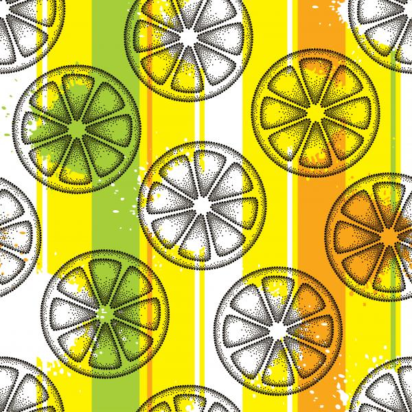 Seamless pattern with dotted lemon slice in black on the colorful striped background.