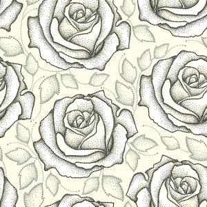 Seamless pattern with dotted black roses and gray leaves on the light yellow background.