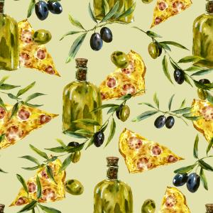 Watercolor pattern of branches, olive oil and pizza