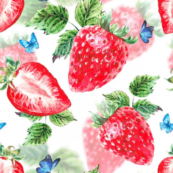 Natural summer watercolor strawberry pattern
