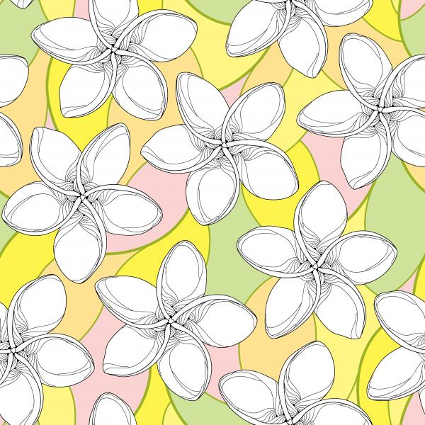 Floral background in contour style for summer design.