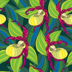 Seamless pattern with Cypripedium calceolus or Lady's-slipper orchid in yellow and striped leaves on the dark green background.