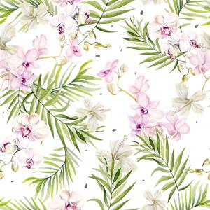 Beautiful watercolor seamless tropical jungle floral pattern background with palm leaves, flowers of orchids and hibiscus