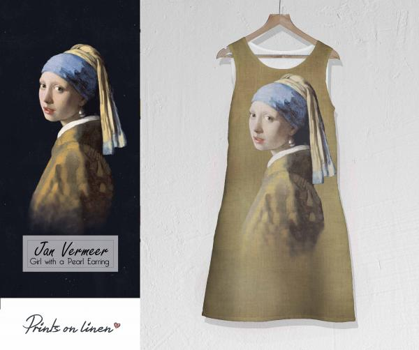 Linen dress / Girl with a Pearl Earring (Amber)