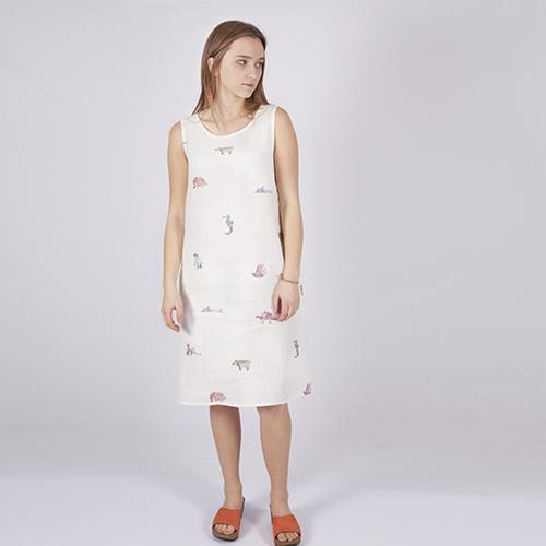 Linen dress with origami animals