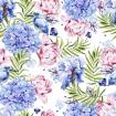 Bright colorful watercolor pattern with leaves of palm trees and flowers of hydrangeas, peony and iris.