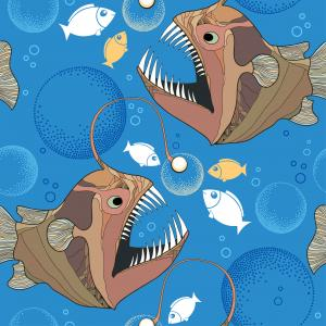 Seamless pattern with Angler fish or monkfish and bubbles.