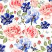 Seamless watercolor pattern with roses, anemones and irises. Raspberry and leaves. Illustration.