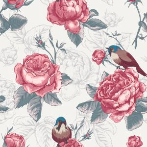 Botanical floral pattern in vintage style with blooming english roses and birds