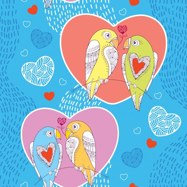 Seamless pattern with cute parrots in love and hearts.