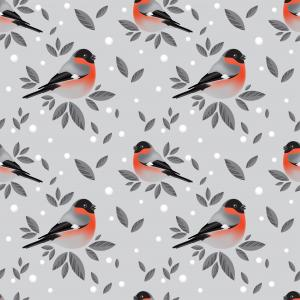 Pattern of bullfinches and snow