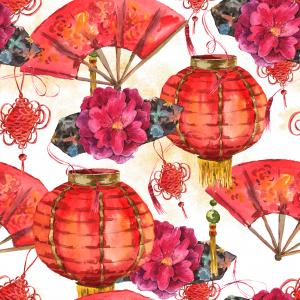 Watercolor pattern with Oriental Chinese New Year Element, Lights, Fan, Lotus