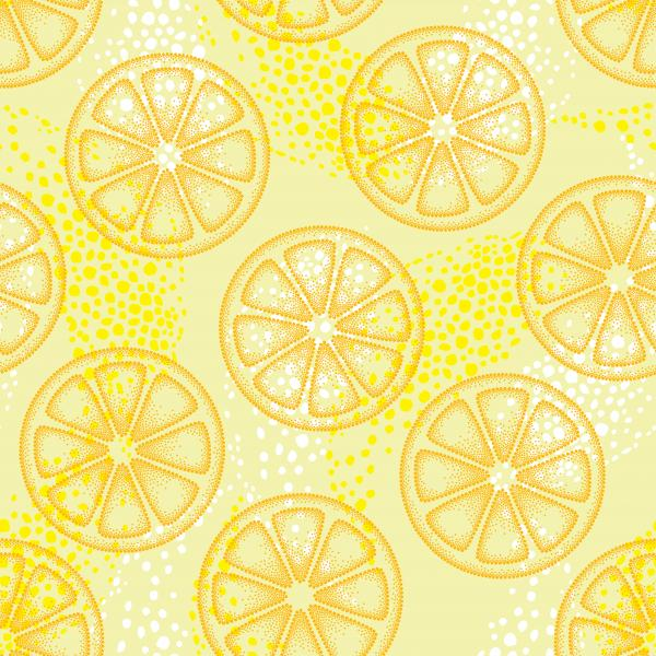 Seamless pattern with dotted orange lemon slice on the yellow background.