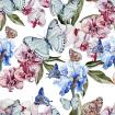 Butterflies with leaves and flowers