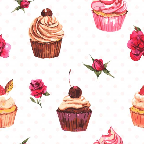 Watercolor pattern with cakes and roses