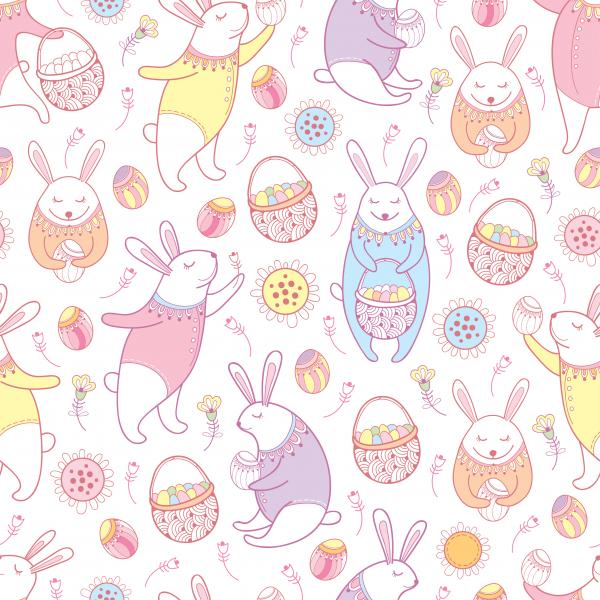 Seamless pattern with outline Easter rabbits, egg, basket and flowers in pastel colors on the white background.