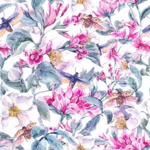 Watercolor pattern with blooming spring flowers and beetles