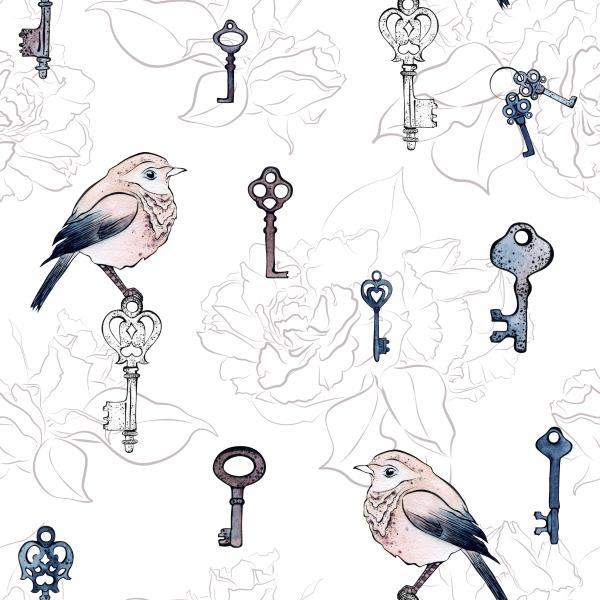 Cute birds and little keys