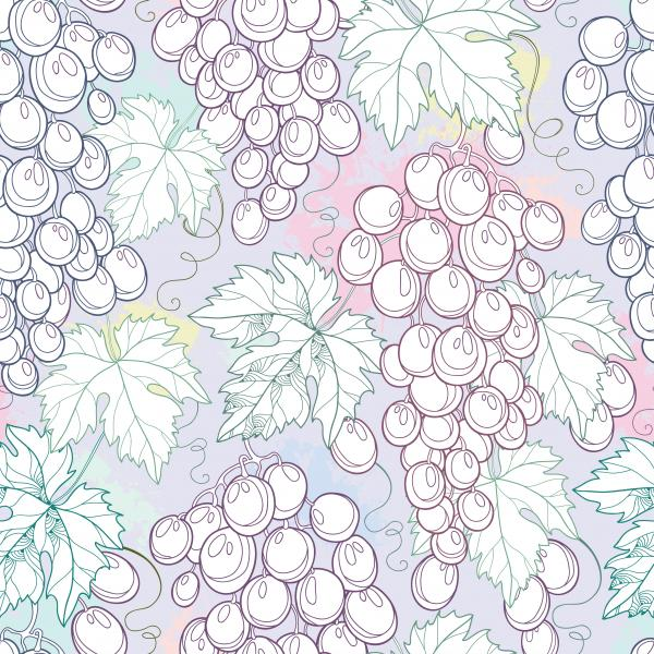 Seamless pattern with bunch of grape and grape leaves on the pastel background.
