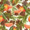 Christmas Watercolor pattern with Sprig of Fir Trees, Cinnamon, Cookies, Oranges and Pine cones