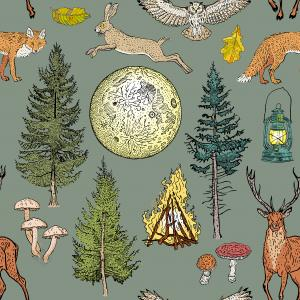 Forest adventure magic seamless pattern
