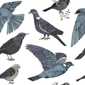 pattern with city birds