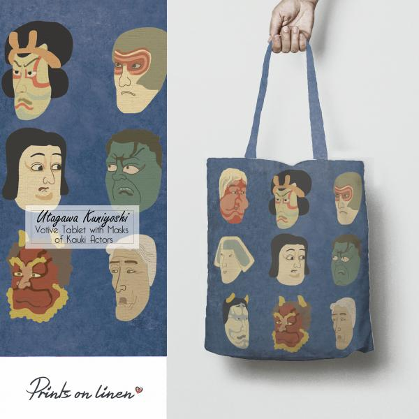 Tote bag /  The Votive Tablet With Masks of Kabuki Actors