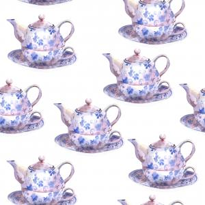 Vintage watercolor pattern with blue teapots
