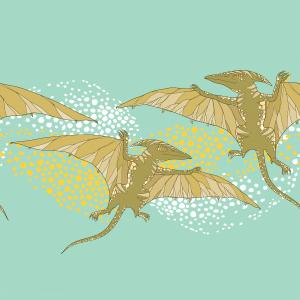 Background with fossil animals and reptiles in contour style.