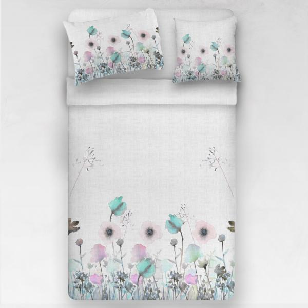 Linen bedding set / Pastel poppies