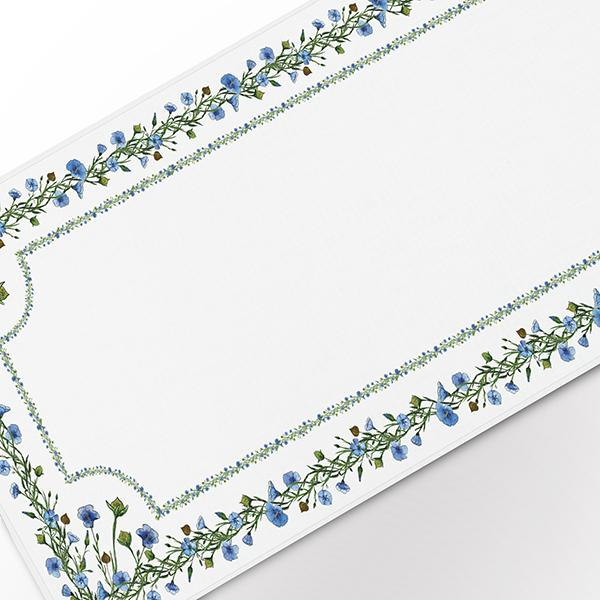 Linen table runner with flax (framed)