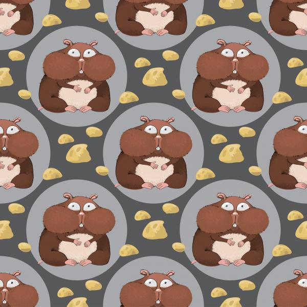 Cartoon seamless pattern with hamsters and cheese