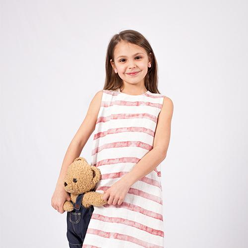 Linen girl's dress with red lines pattern