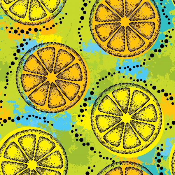 Seamless pattern with dotted black lemon slice on the background with colorful blots.