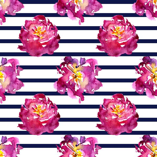 Watercolor flowers with stripes