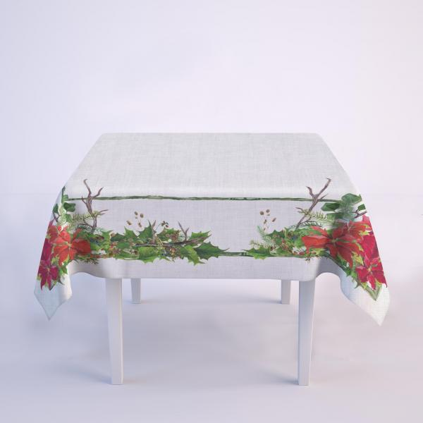 Tablecloth / Poinsettia wreath