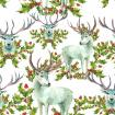 Watercolor pattern with Snow white deer and holly